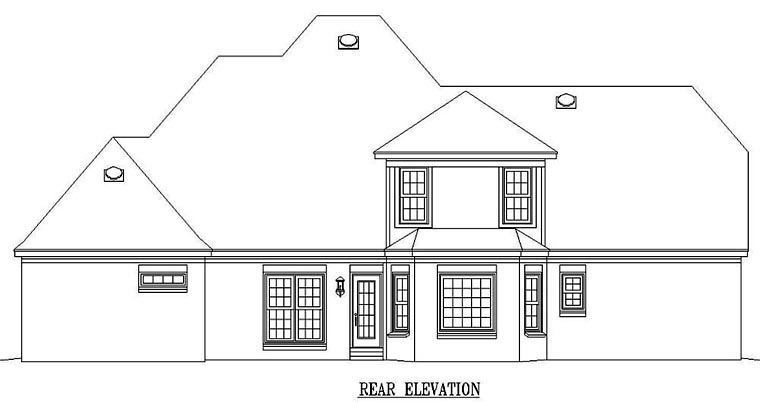 Victorian House Plan 47010 with 4 Beds, 4 Baths, 3 Car Garage Rear Elevation