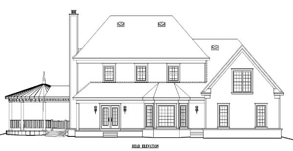 Country House Plan 47047 with 4 Beds, 5 Baths, 2 Car Garage Rear Elevation