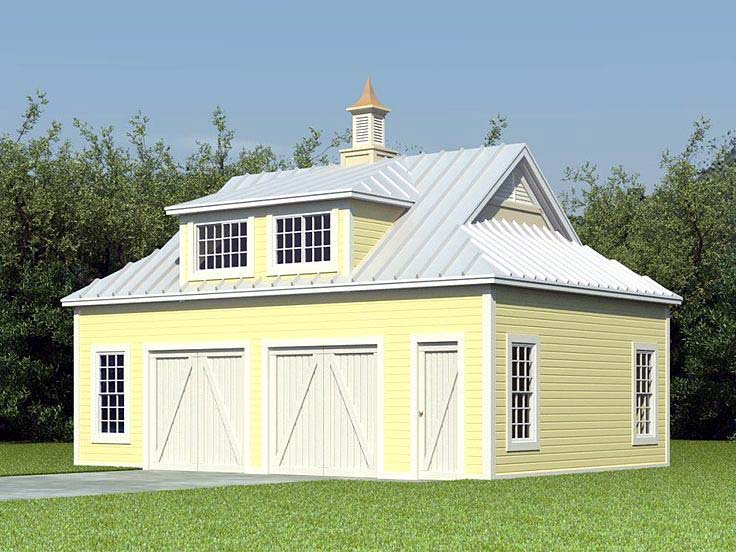 Farmhouse 2 Car Garage Apartment Plan 47099 with 1 Beds, 1 Baths Elevation
