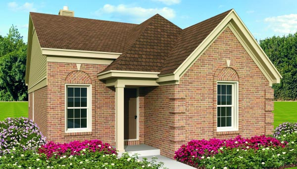 Narrow Lot, One-Story, Traditional House Plan 47381 with 2 Beds, 2 Baths Elevation