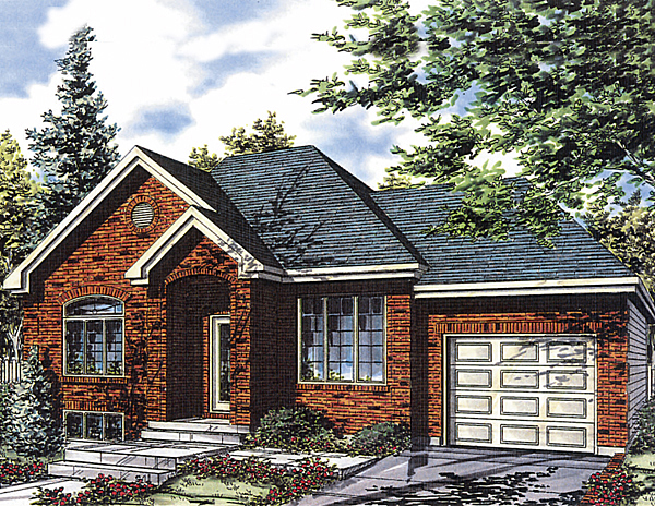 Bungalow, Narrow Lot, One-Story House Plan 48026 with 4 Beds, 1 Baths, 1 Car Garage Elevation