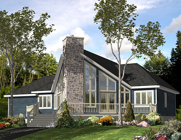 Contemporary House Plan 48040 with 3 Beds, 2 Baths, 1 Car Garage Elevation