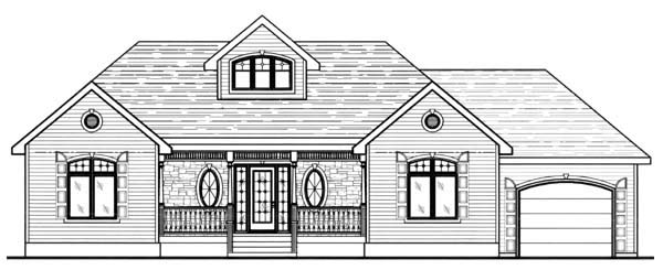 Contemporary House Plan 48040 with 3 Beds, 2 Baths, 1 Car Garage Rear Elevation
