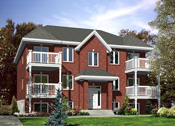 Multi-Family Plan 48066 with 12 Beds, 6 Baths Front Elevation