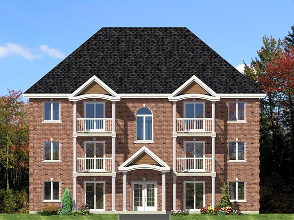 Multi-Family Plan 48073 with 12 Beds, 6 Baths Front Elevation