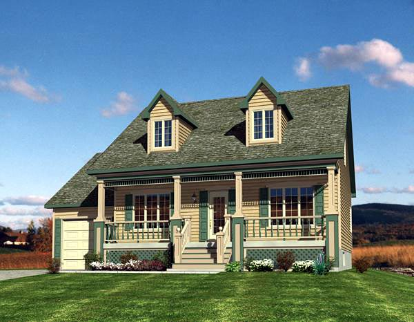 Cape Cod, Narrow Lot House Plan 48171 with 3 Beds, 2 Baths, 1 Car Garage Elevation