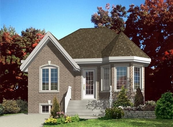 Narrow Lot, One-Story, Victorian House Plan 48190 with 2 Beds, 1 Baths Front Elevation