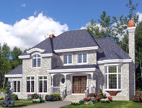 Colonial House Plan 48281 with 3 Beds, 3 Baths, 1 Car Garage Elevation