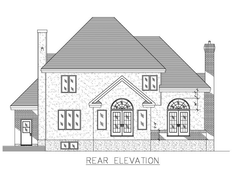 Colonial House Plan 48281 with 3 Beds, 3 Baths, 1 Car Garage Rear Elevation