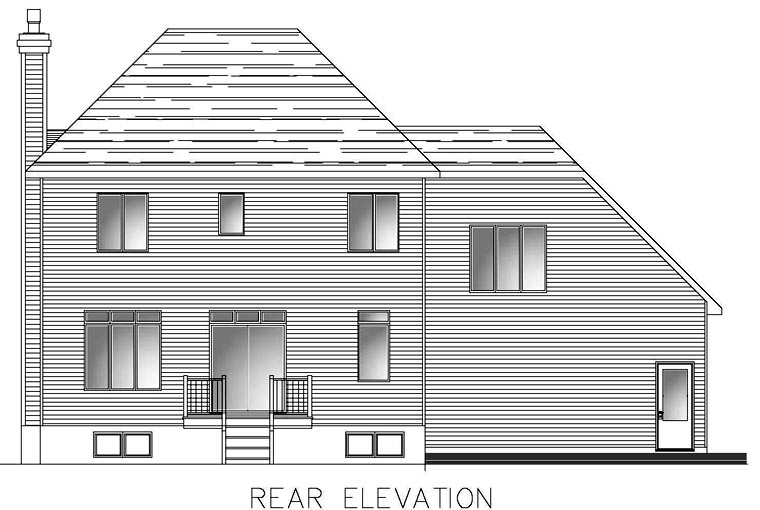 Southern House Plan 48287 with 3 Beds, 3 Baths, 1 Car Garage Rear Elevation