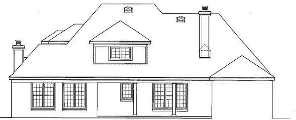 European House Plan 48521 with 4 Beds, 4 Baths, 2 Car Garage Rear Elevation