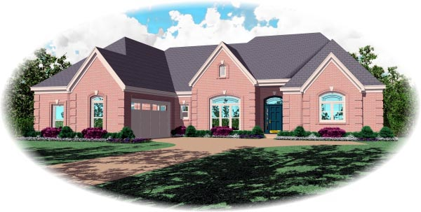 Country, European House Plan 48758 with 3 Beds, 4 Baths, 2 Car Garage Front Elevation