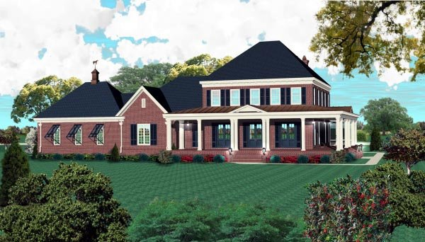 Country, Plantation House Plan 48759 with 3 Beds, 4 Baths, 3 Car Garage Elevation