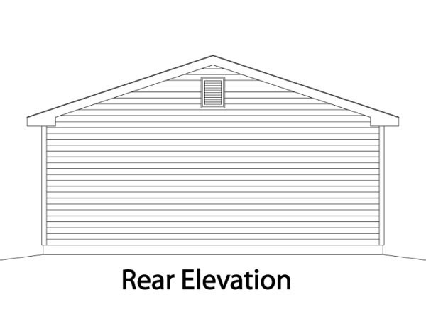Traditional 2 Car Garage Plan 49013 Rear Elevation