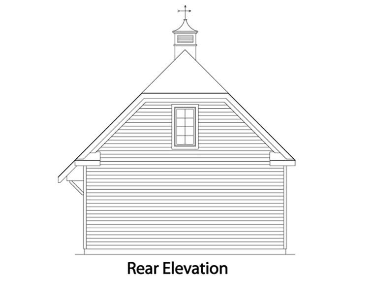 Traditional 2 Car Garage Plan 49027 Rear Elevation