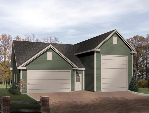 Traditional 3 Car Garage Plan 49031, RV Storage Elevation