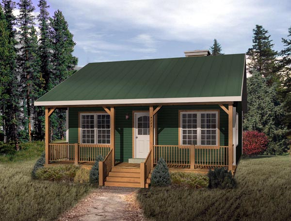 Country, Narrow Lot, One-Story House Plan 49119 with 1 Beds, 1 Baths Elevation