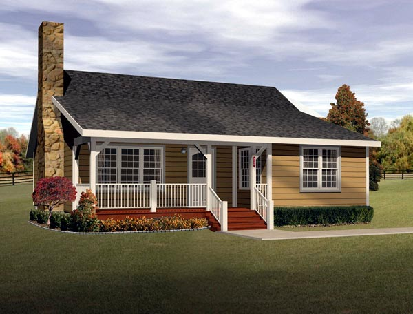 Country, Ranch House Plan 49122 with 2 Beds, 1 Baths Front Elevation