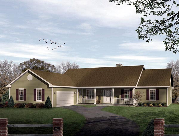 Ranch House Plan 49136 with 3 Beds, 3 Baths, 2 Car Garage Elevation
