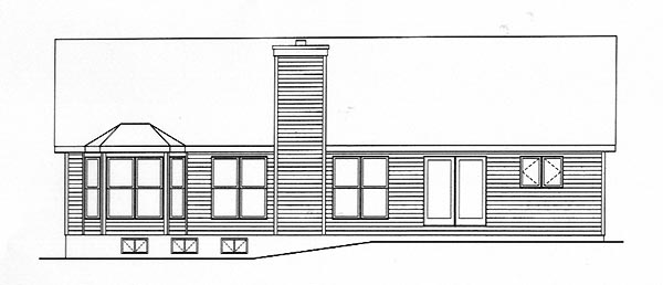 Ranch House Plan 49137 with 3 Beds, 2 Baths, 2 Car Garage Rear Elevation