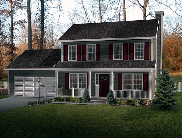 Country House Plan 49144 with 3 Beds, 3 Baths, 2 Car Garage Front Elevation