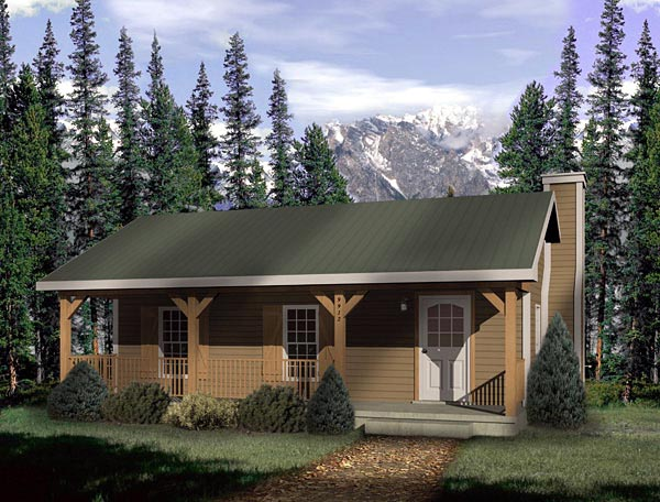 Country, Narrow Lot, One-Story House Plan 49148 with 1 Beds, 1 Baths Front Elevation