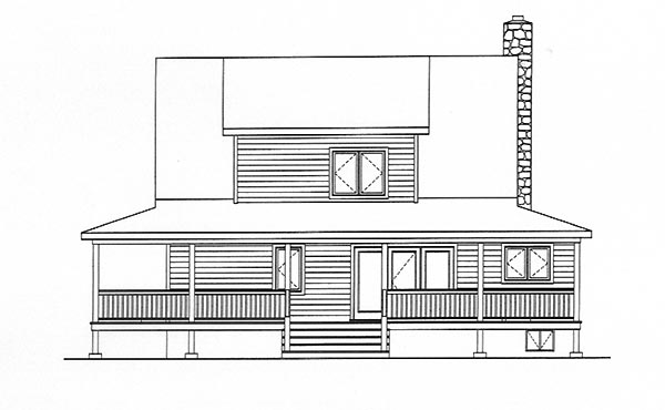 Cape Cod House Plan 49152 with 3 Beds, 2 Baths Rear Elevation
