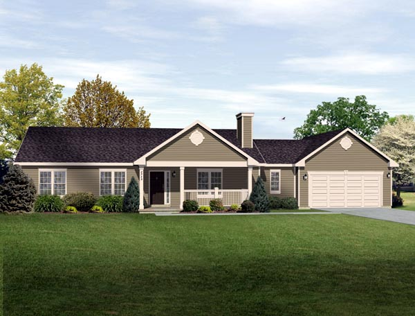 Ranch, Traditional House Plan 49189 with 3 Beds, 2 Baths, 2 Car Garage Elevation