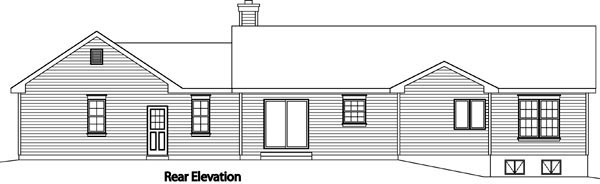 Ranch, Traditional House Plan 49189 with 3 Beds, 2 Baths, 2 Car Garage Rear Elevation