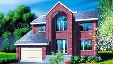 Contemporary, Narrow Lot House Plan 49253 with 4 Beds, 4 Baths, 1 Car Garage Elevation