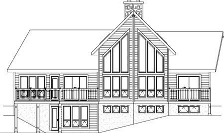 Farmhouse House Plan 49284 with 3 Beds, 4 Baths, 1 Car Garage Rear Elevation