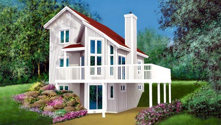Contemporary, Narrow Lot House Plan 49301 with 3 Beds, 2 Baths Front Elevation