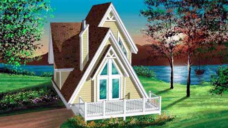 A-Frame, Narrow Lot House Plan 49303 with 3 Beds, 1 Baths Front Elevation