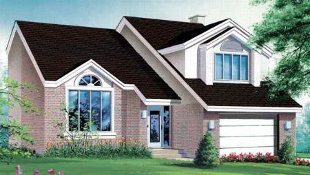 Contemporary House Plan 49343 with 3 Beds, 4 Baths, 1 Car Garage Front Elevation