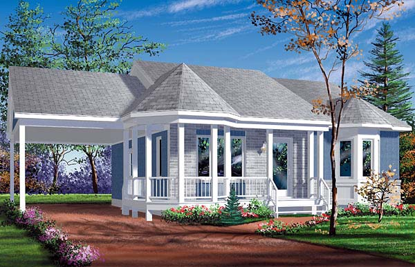Narrow Lot, One-Story, Victorian House Plan 49430 with 2 Beds, 1 Baths, 1 Car Garage Front Elevation