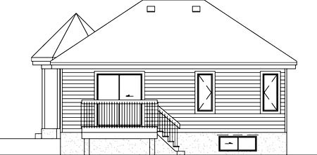 Narrow Lot, One-Story, Victorian House Plan 49452 with 2 Beds, 1 Baths Rear Elevation