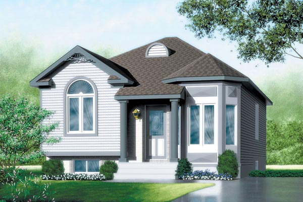 Colonial, Narrow Lot, One-Story House Plan 49453 with 2 Beds, 1 Baths Front Elevation