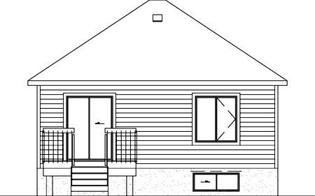 Colonial, Narrow Lot, One-Story House Plan 49453 with 2 Beds, 1 Baths Rear Elevation