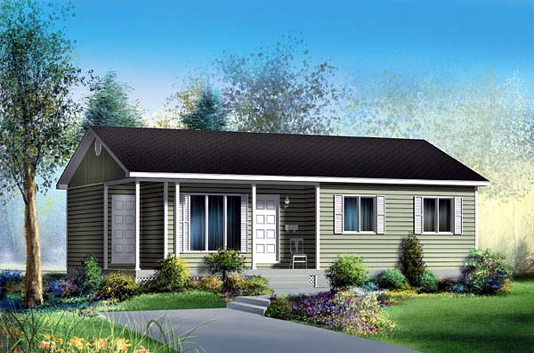 Narrow Lot, One-Story, Ranch House Plan 49498 with 3 Beds, 1 Baths Elevation