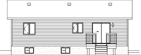 Narrow Lot, One-Story, Ranch House Plan 49498 with 3 Beds, 1 Baths Rear Elevation