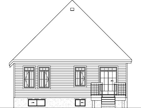 Narrow Lot, One-Story, Victorian House Plan 49506 with 3 Beds, 1 Baths Rear Elevation