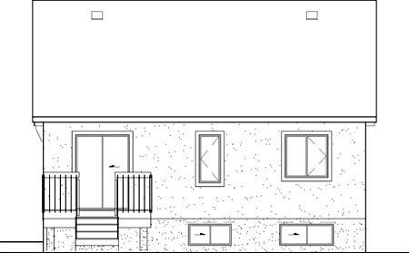 Tudor House Plan 49513 with 2 Beds, 1 Baths Rear Elevation