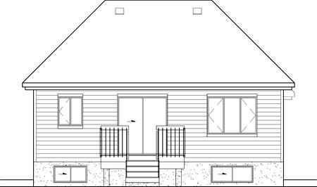 Craftsman, Narrow Lot, One-Story House Plan 49546 with 2 Beds, 1 Baths, 1 Car Garage Rear Elevation
