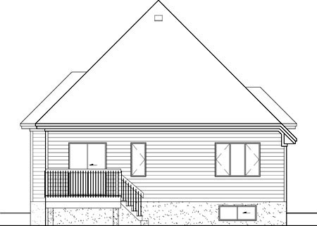European House Plan 49560 with 2 Beds, 2 Baths, 1 Car Garage Rear Elevation
