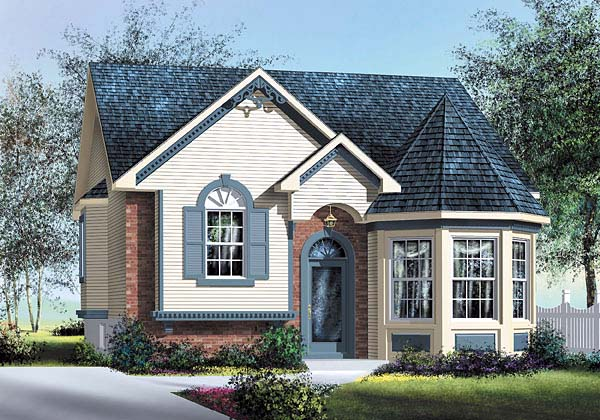 Victorian House Plan 49563 with 2 Beds, 1 Baths Elevation