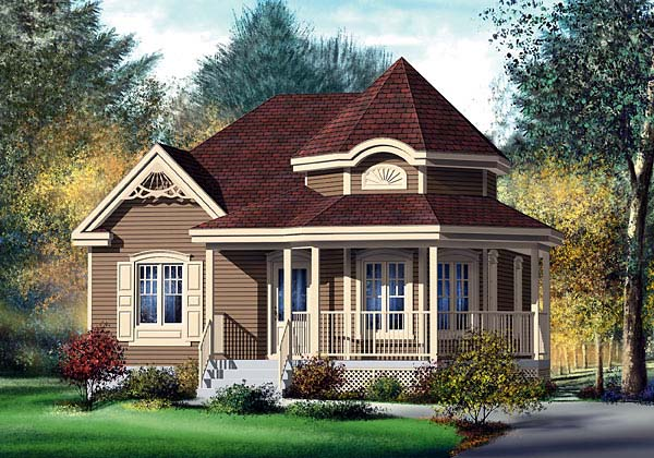 Victorian House Plan 49571 with 2 Beds, 1 Baths Front Elevation