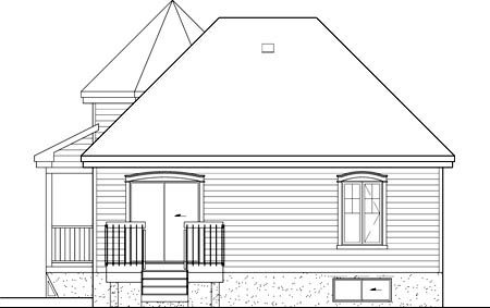 Victorian House Plan 49571 with 2 Beds, 1 Baths Rear Elevation