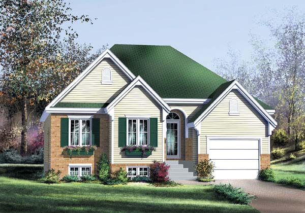 European, Narrow Lot, One-Story House Plan 49599 with 2 Beds, 2 Baths, 1 Car Garage Front Elevation