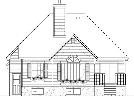 European, Narrow Lot, One-Story House Plan 49599 with 2 Beds, 2 Baths, 1 Car Garage Rear Elevation