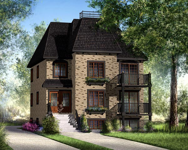 Narrow Lot House Plan 49818 with 2 Beds, 1 Baths Elevation